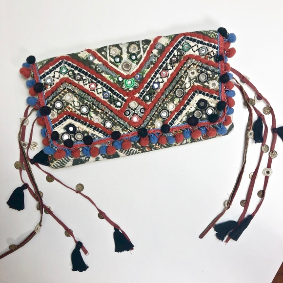 Ecote Handbags - Red Patchwork Pom Pom Boho Tassel Clutch Bag